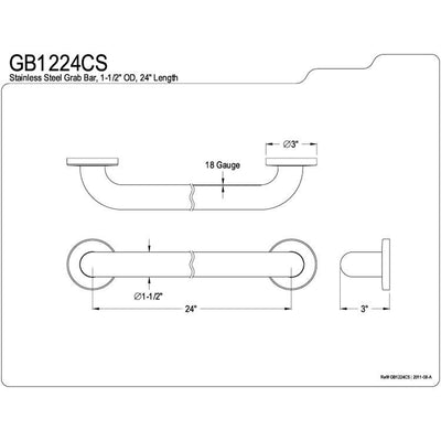 "Kingston Brass Grab Bars - Satin Nickel 24"" Commercial Grade Grab Bar GB1224CS"