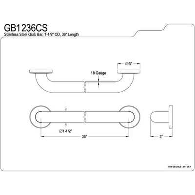 "Kingston Brass Grab Bars - Satin Nickel 36"" Commercial Grade Grab Bar GB1236CS"