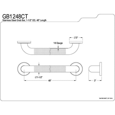 "Kingston Brass Grab Bars - Satin Nickel 48"" Commercial Grade Grab Bar GB1248CT"