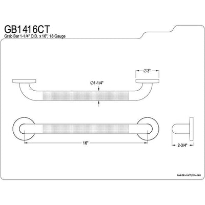 "Kingston Brass Grab Bars - Satin Nickel 16"" Commercial Grade Grab Bar GB1416CT"