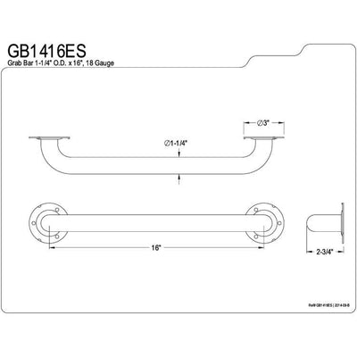 "Kingston Brass Grab Bars - Satin Nickel 16"" Commercial Grade Grab Bar GB1416ES"