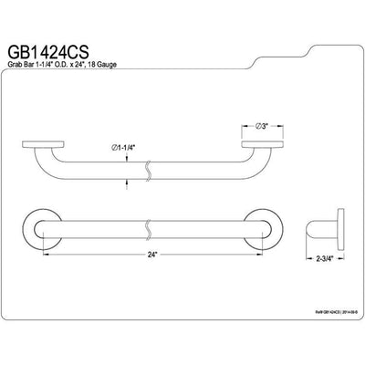 "Kingston Brass Grab Bars - Satin Nickel 24"" Commercial Grade Grab Bar GB1424CS"