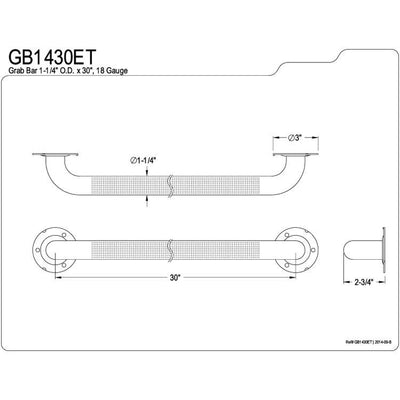"Kingston Brass Grab Bars - Satin Nickel 30"" Commercial Grade Grab Bar GB1430ET"