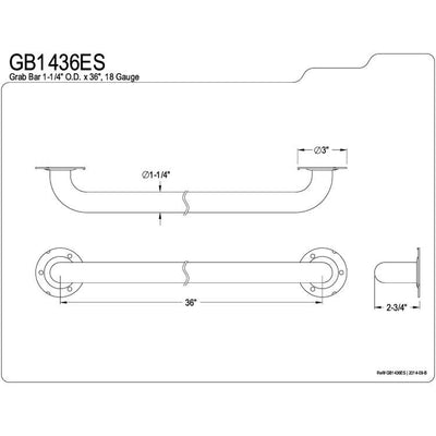 "Kingston Brass Grab Bars - Satin Nickel 36"" Commercial Grade Grab Bar GB1436ES"