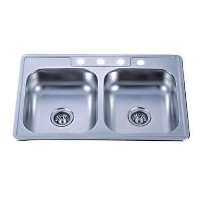 Kingston Brushed Nickel Gourmetier Double Bowl Self-Rimming Kitchen Sink GKTD33227MR