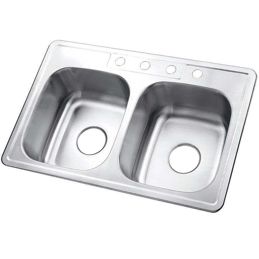 Brushed Nickel Gourmetier Double Bowl Self-Rimming Kitchen Sink GKTD33227
