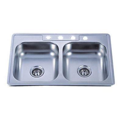 Kingston Brushed Nickel Gourmetier Double Bowl Self-Rimming Kitchen Sink GKTD33228MR