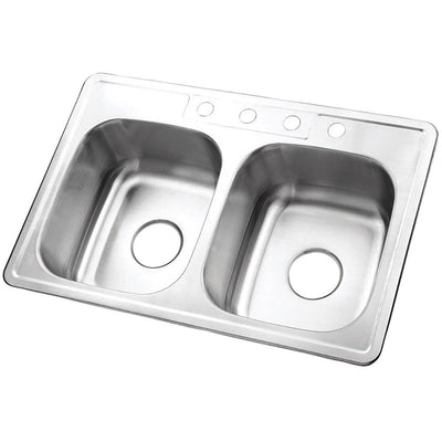 Brushed Nickel Gourmetier Double Bowl Self-Rimming Kitchen Sink GKTD33228