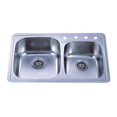 Brushed Nickel Gourmetier Double Bowl Self-Rimming Kitchen Sink GKTDD3322C