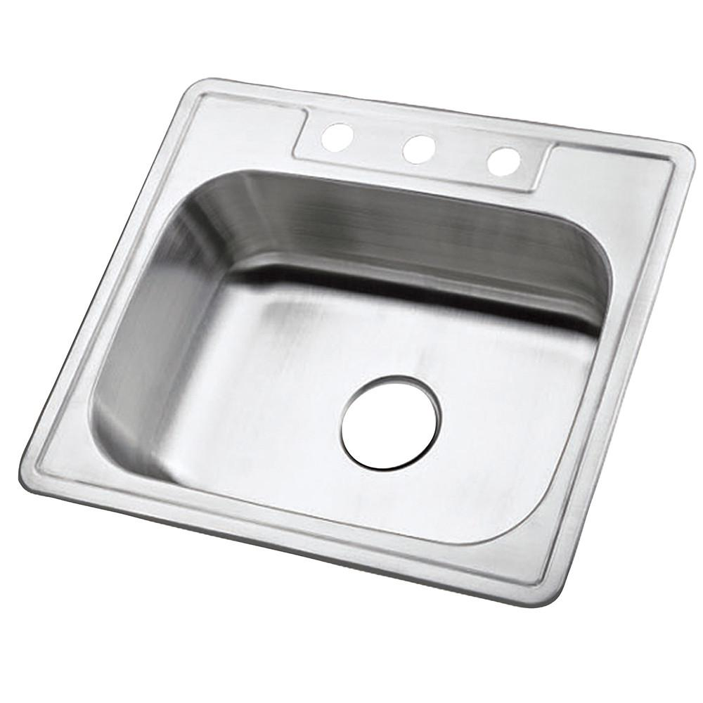 Brushed Nickel Gourmetier Single Bowl Self-Rimming Kitchen Sink GKTS2520
