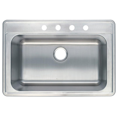 Brushed Nickel Gourmetier Single Bowl Self-Rimming Kitchen Sink GKTS332290