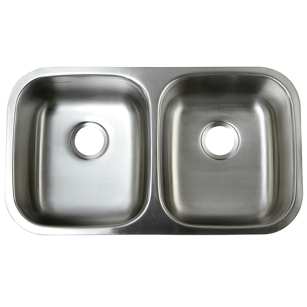 Kingston Brushed Nickel Gourmetier Double Bowl Undermount Kitchen Sink GKUD3118
