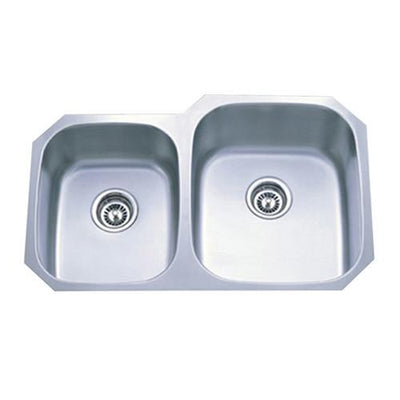 Brushed Nickel Gourmetier Double Bowl Undermount Kitchen Sink GKUD3221RH