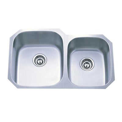 Kingston Brushed Nickel Gourmetier Double Bowl Undermount Kitchen Sink GKUD3221