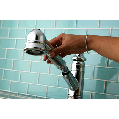 Kingston Chrome Single Handle Pull Out Kitchen Faucet w Deck Plate GS7571TL