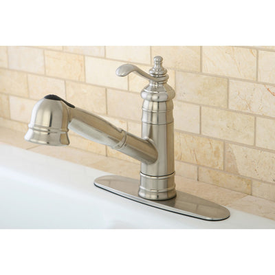 Kingston Satin Nickel Single Handle Pull Out Kitchen Faucet w Plate GS7578TL