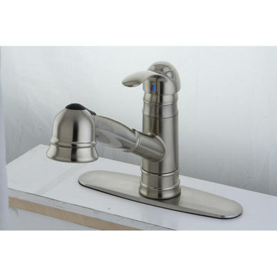 Kingston Satin Nickel Single Handle Pull Out Kitchen Faucet w plate GS7578WEL