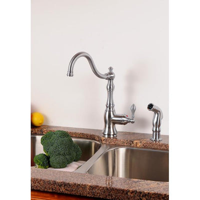 Kingston Brass Chrome Single Handle Kitchen Faucet w Brass Sprayer GS7701ACLSP