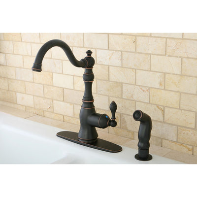 Kingston Oil Rubbed Bronze Single Handle Kitchen Faucet w Sprayer GS7706ACLSP
