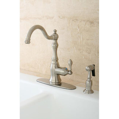 Kingston Satin Nickel Single Handle Kitchen Faucet w Brass Sprayer GS7708ACLBS
