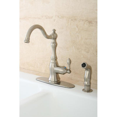 Kingston Satin Nickel Single Handle Kitchen Faucet w Brass Sprayer GS7708ACLSP