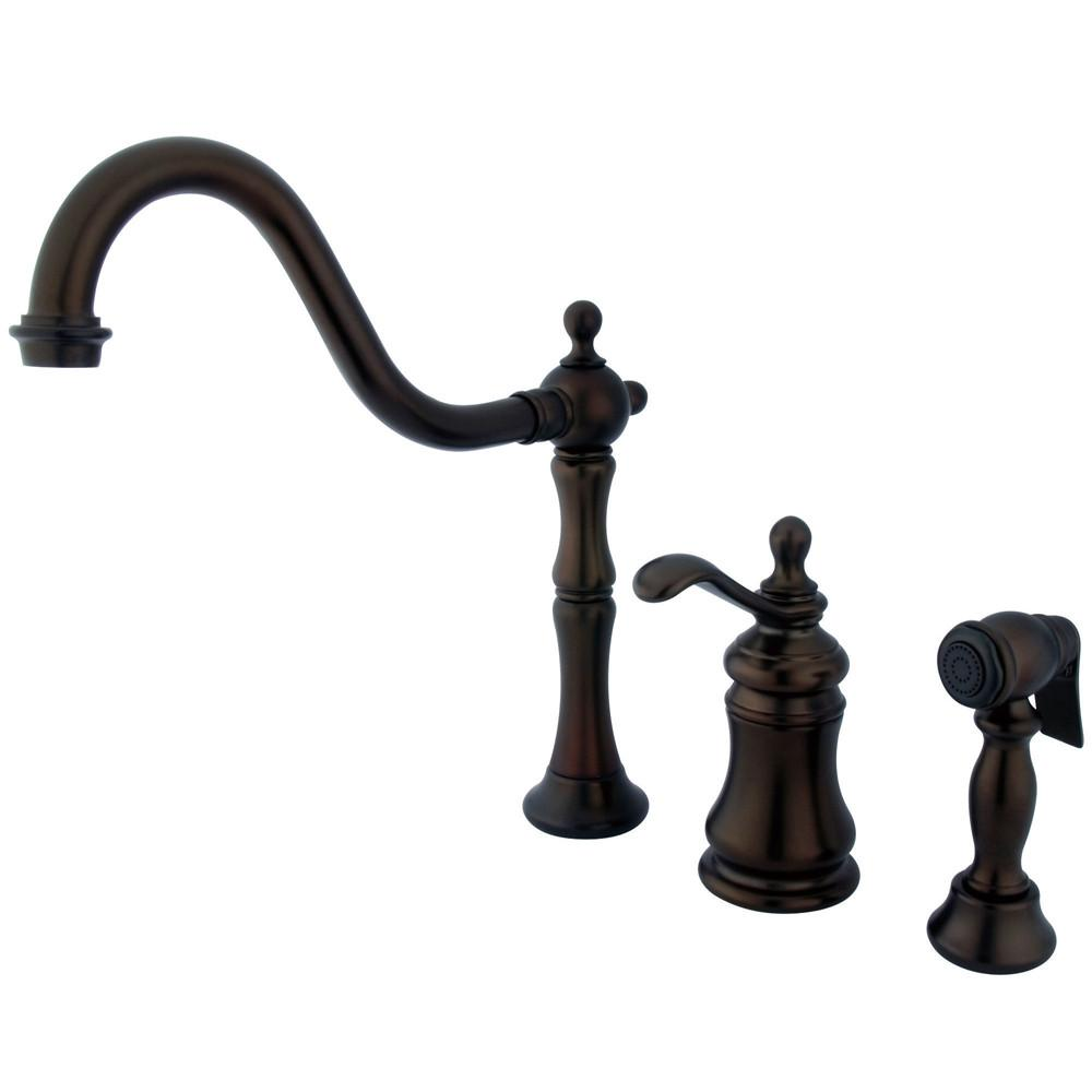Kingston Oil Rubbed Bronze Widespread Kitchen Faucet w Brass Sprayer GS7805TPLBS