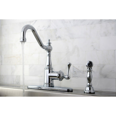 Kingston Brass Chrome Single Handle Kitchen Faucet w Brass Sprayer GS7811BLBS