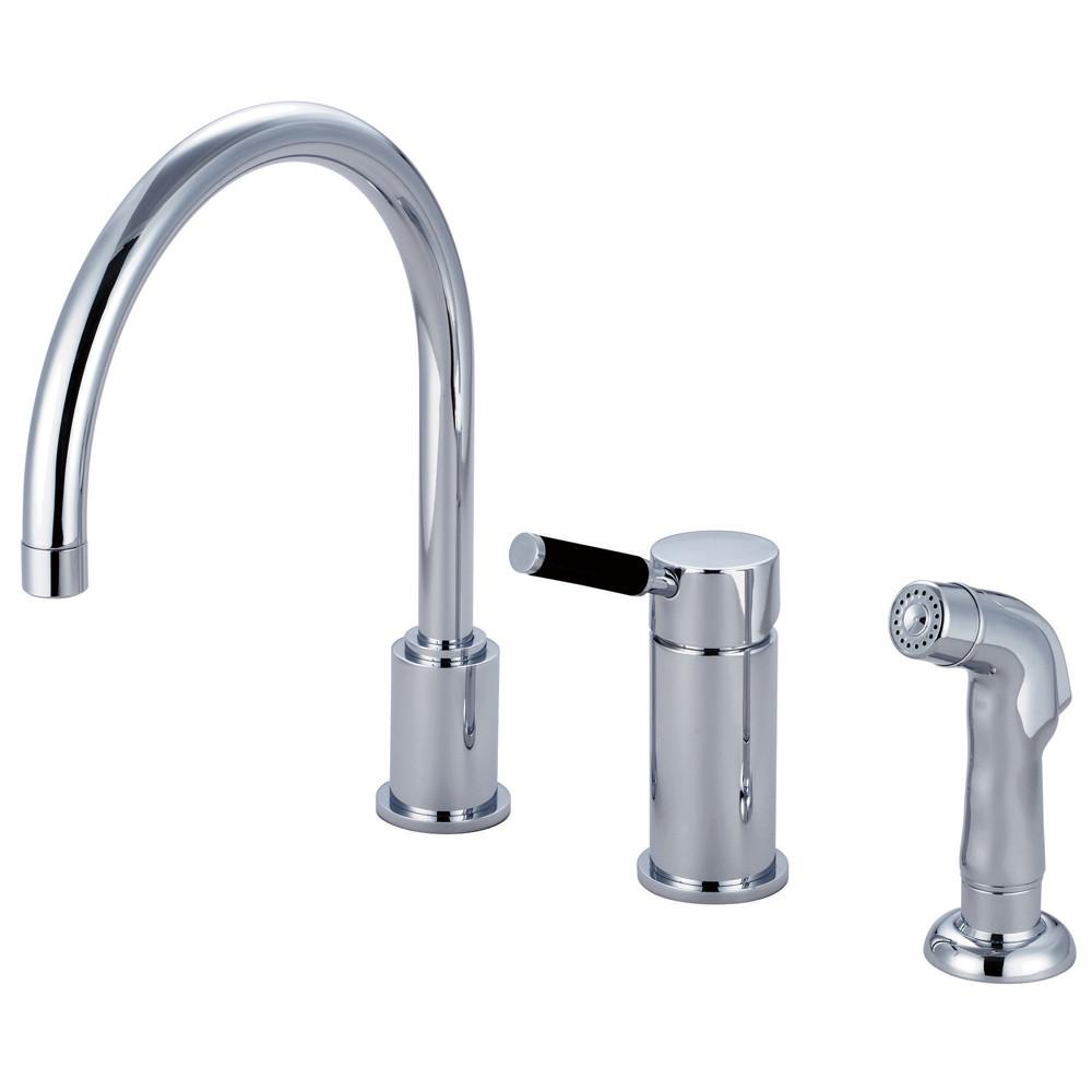 Kingston Kaiser Chrome Widespread one Handle Kitchen Faucet w/Spray GS8011DKLSP