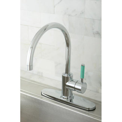 Kingston Green Eden Chrome Single Handle Kitchen Faucet w Deck Plate GS8711DGLLS