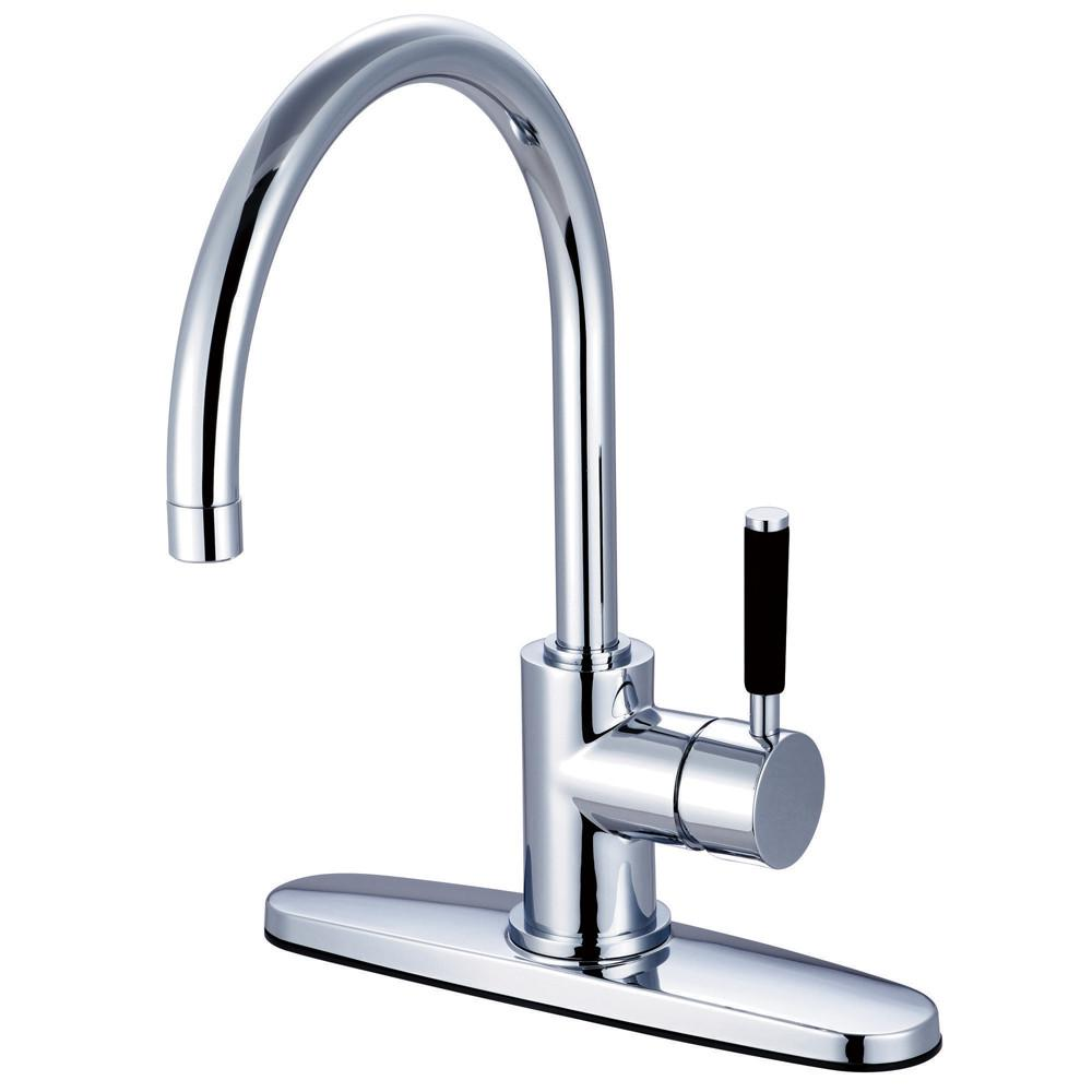 Kingston Kaiser Chrome Single Handle Kitchen Faucet w Deck Plate GS8711DKLLS