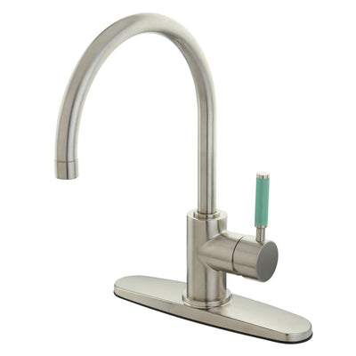 Kingston Green Eden Satin Nickel Single Handle Kitchen Faucet GS8718DGLLS