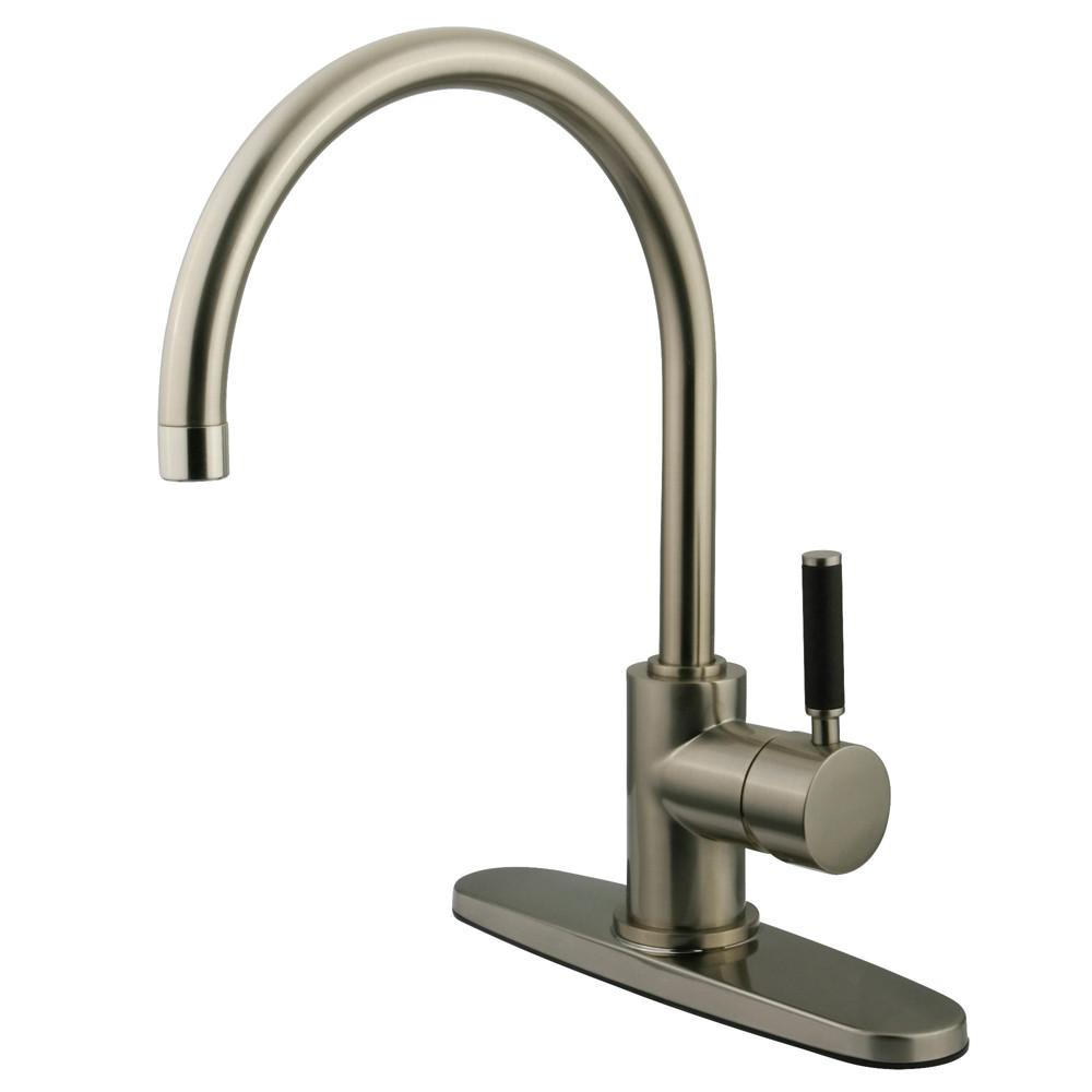 Kingston Kaiser Satin Nickel Single Lever Handle Kitchen Faucet GS8718DKLLS