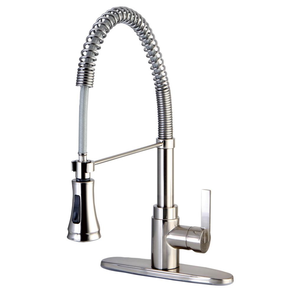 Kingston Brass Satin Nickel Single Handle Pre Rinse Kitchen Faucet
