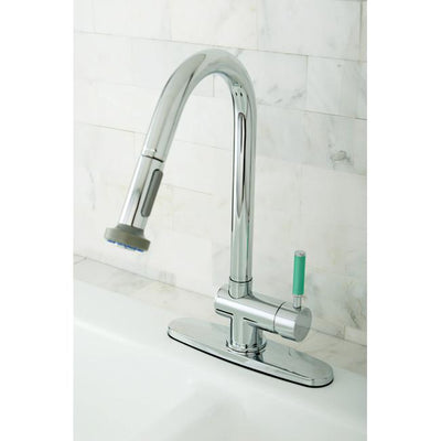 Kingston Green Eden Chrome Pull Down Single Handle Kitchen Faucet GS8881DGL