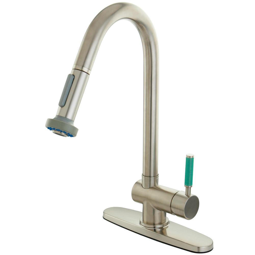 Kingston Green Eden Satin Nickel Pull Down 1 Handle Kitchen Faucet GS8888DGL