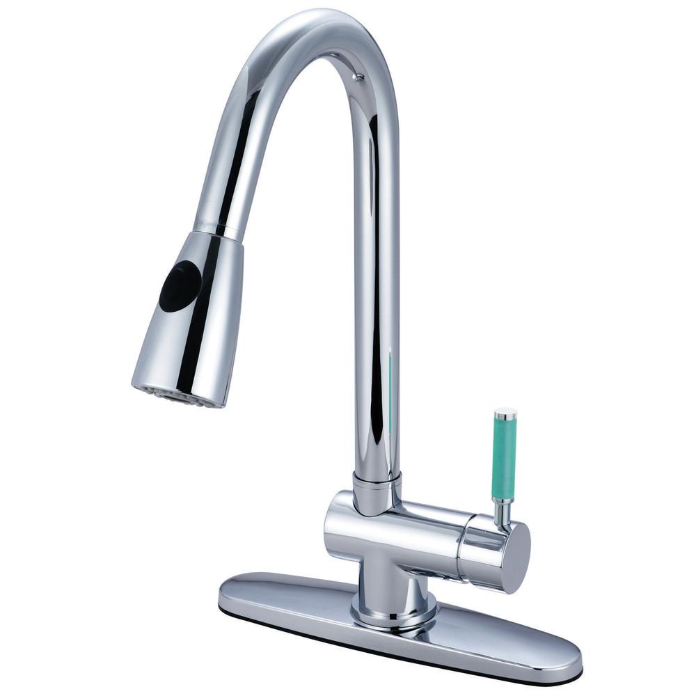 Kingston Green Eden Chrome Pull Down Single Handle Kitchen Faucet GS8891DGL