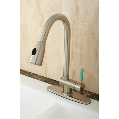 Kingston Green Eden Satin Nickel Pull Down Spray Kitchen Faucet GS8898DGL