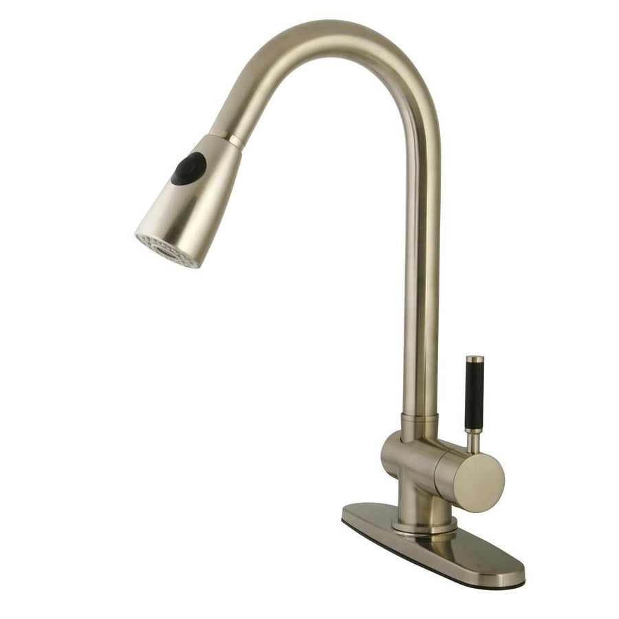 kitchen faucets get a modern or traditional kitchen sink faucet kaiser satin nickel single handle kitchen faucet w pull down sprayer gs8898dkl