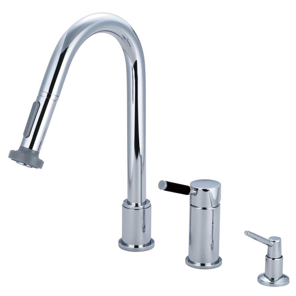 Kaiser Chrome Pull down Widespread Kitchen Faucet & Soap Dispenser GS8911DKLK1