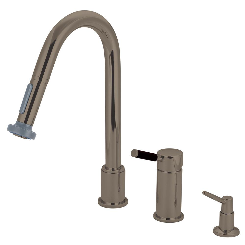 Kaiser Satin Nickel Pull down spray Kitchen Faucet & Soap Dispenser GS8918DKLK8