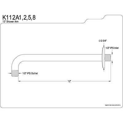 "Kingston Brass Claremont Satin Nickel 12"" Rain Drop Shower Arm K112A8"