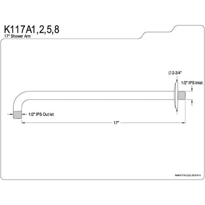 "Kingston Brass Claremont Satin Nickel 17"" Rain Drop Shower Arm K117A8"