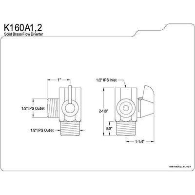 Kingston Brass Chrome Solid Brass Flow Diverter for Shower Arm Mount K160A1