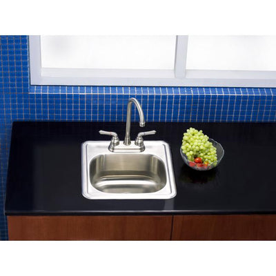 Kingston Brushed Nickel Gourmetier Single Bowl Self-Rimming Bar Sink K16156BN