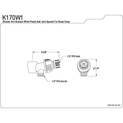 Kingston Bathroom Accessories White Plumbing parts Shower Arm Bracket K170W1