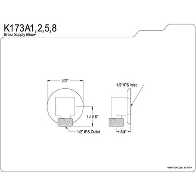 Kingston Brass Bathroom Accessories Polished Brass Supply Elbow K173A2