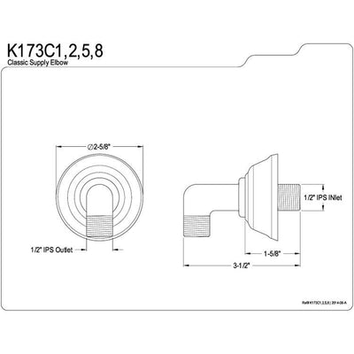 Kingston Brass Bathroom Accessories Satin Nickel Brass Supply Elbow K173C8