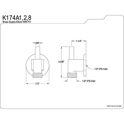 Kingston Brass Bathroom Accessories Chrome Brass Supply Elbow with Pin K174A1