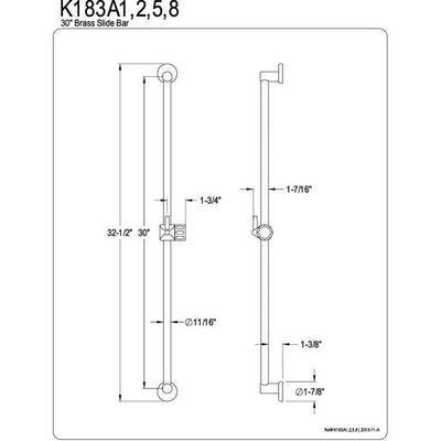 "Kingston Brass Bathroom Accessories Chrome 30"" Brass Slide Bar with Pin K183A1"