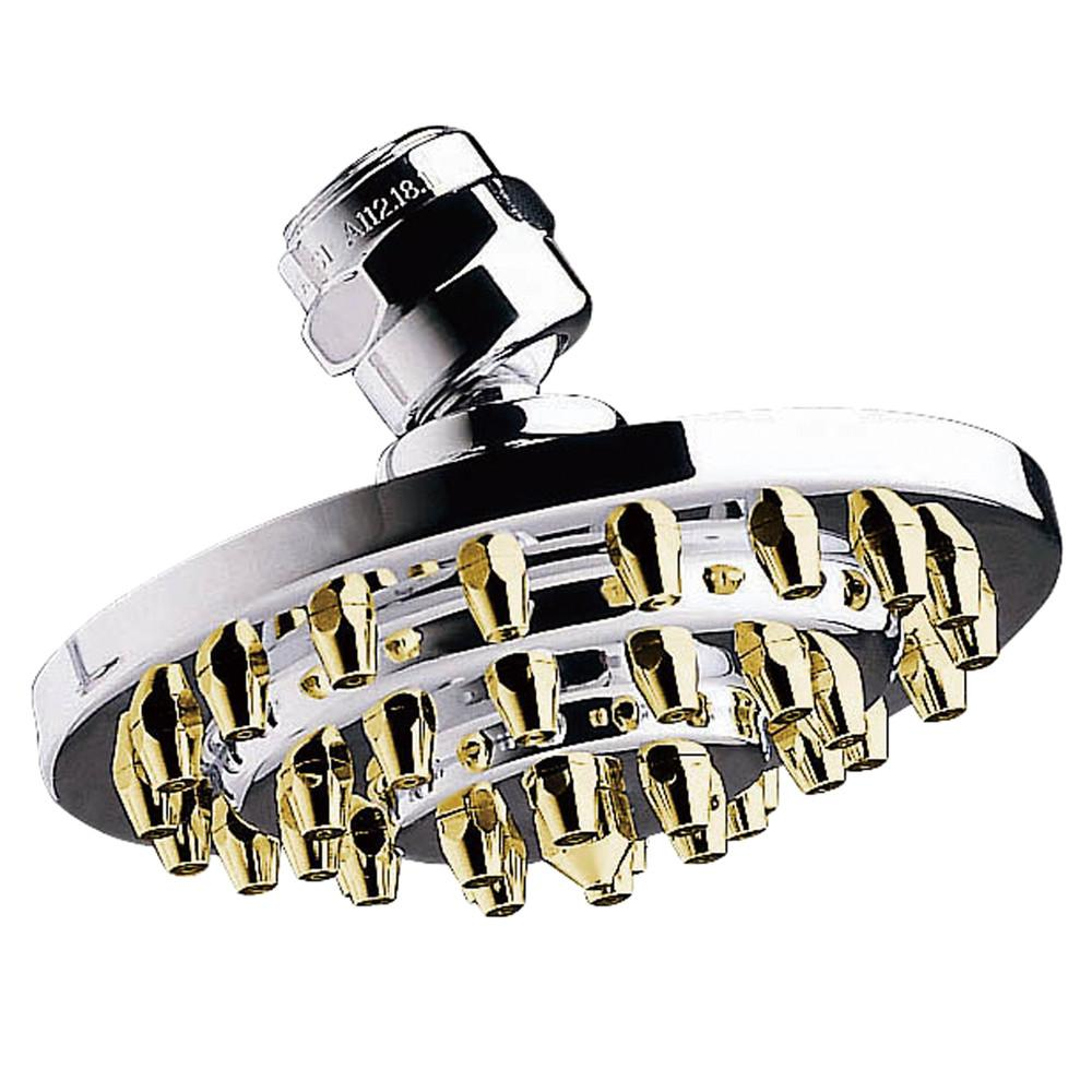 "Chrome with Polished Brass Trim 4"" 3 Tier High Pressure showerhead K204A4"
